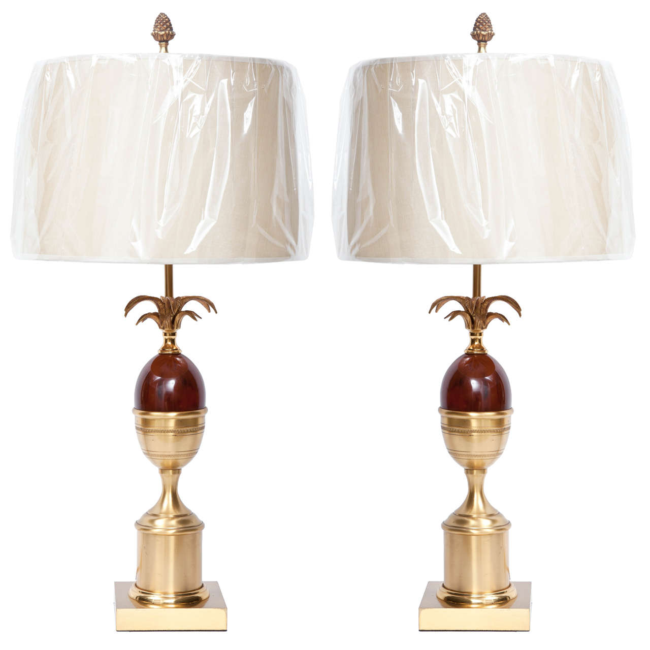 Pair of Brass and Resin Lamps