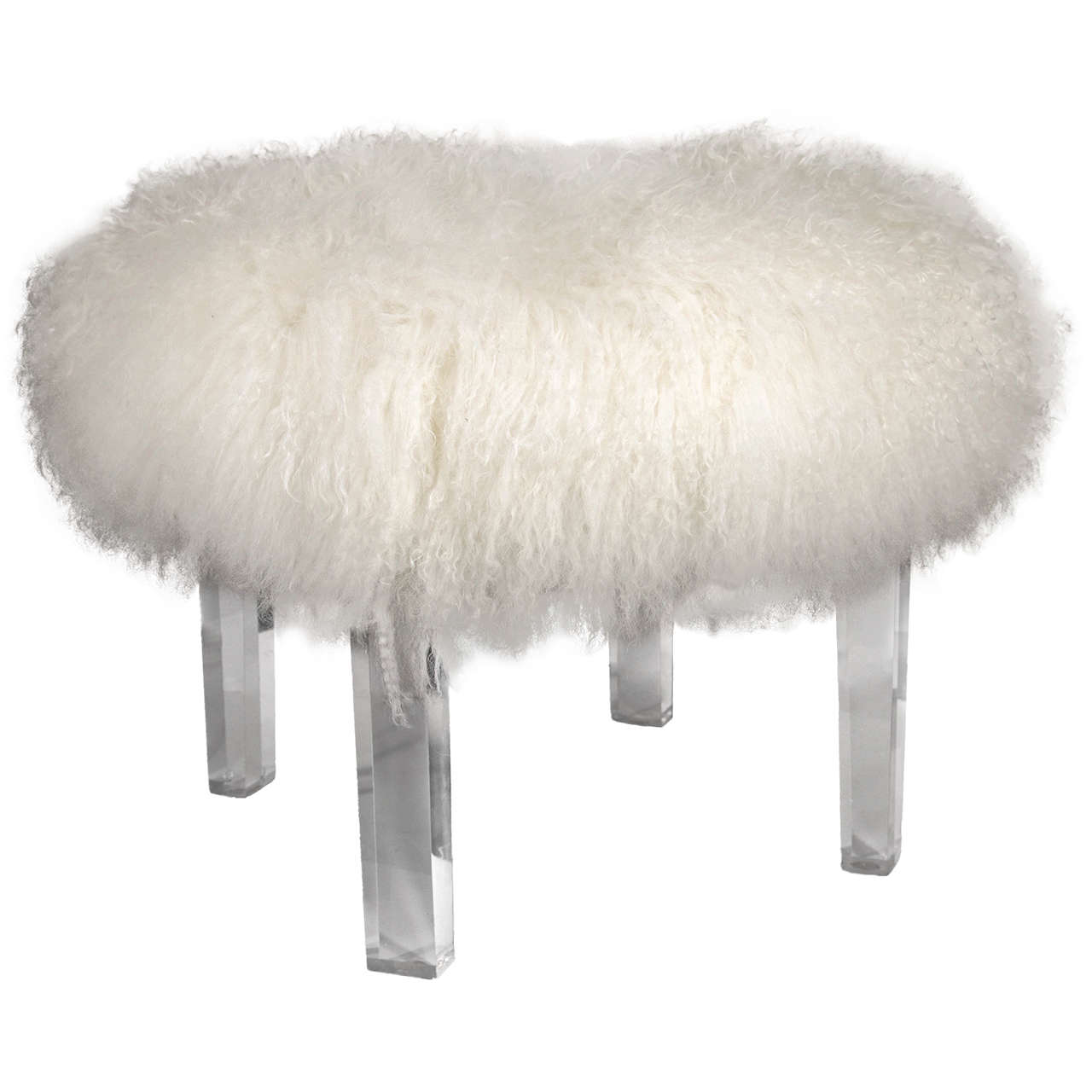 Tibetan Lamb S Wool Ottoman With Lucite Legs At 1stdibs