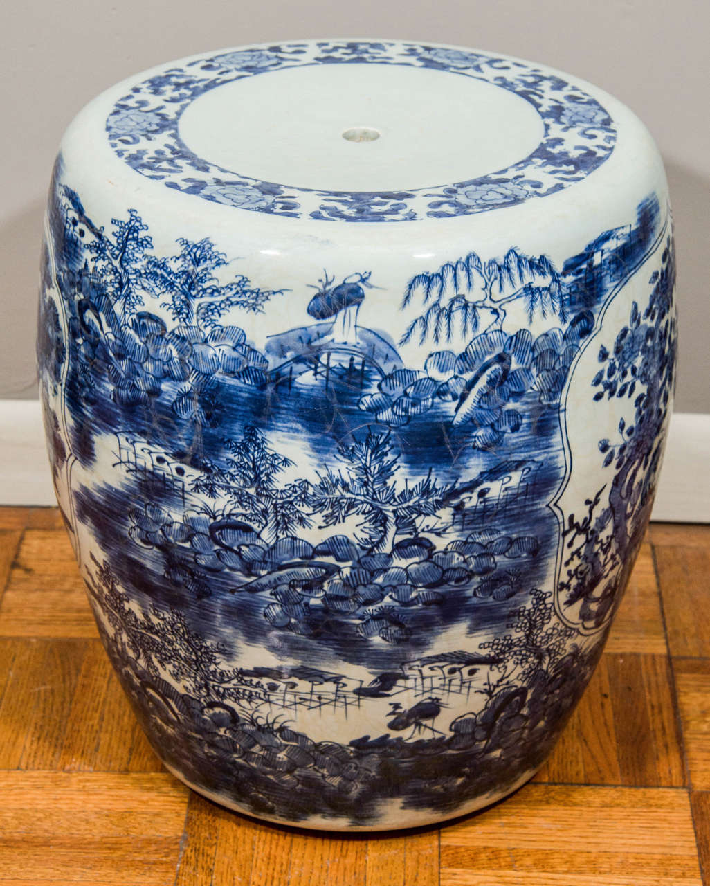 Pair Of Blue And White Porcelain Garden Stools At 1stdibs