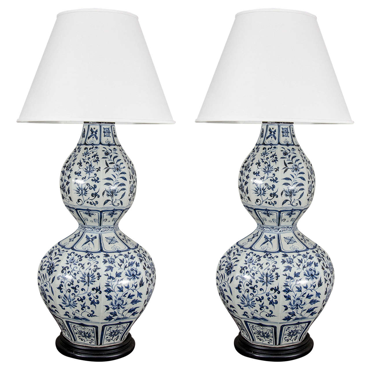 Pair of large chinese blue and white double gourd calabash vases pair of large chinese blue and white double gourd calabash vases wired as lamps for reviewsmspy