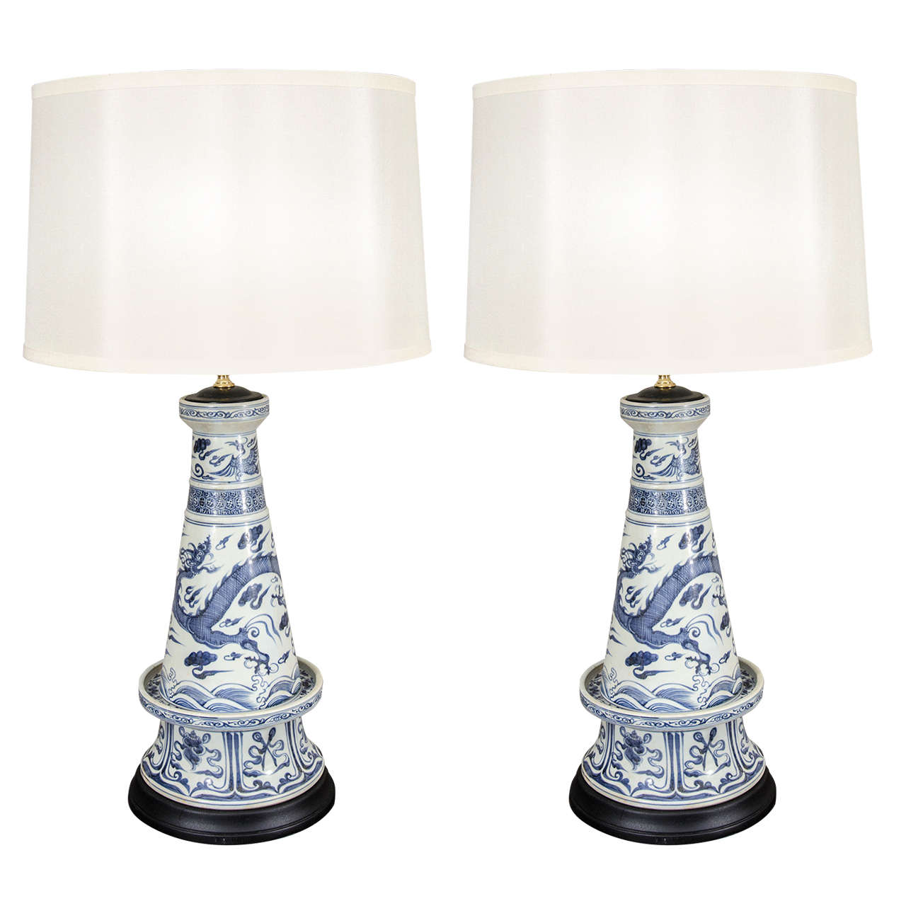 pair of unusual blue and white chinese porcelain lamps at 1stdibs