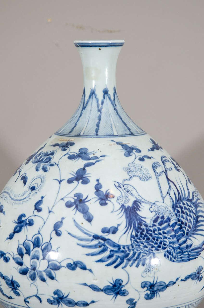 blue and white square vase large
