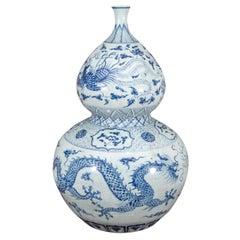 Large Chinese Blue and White Porcelain Double Gourd Calabash Vase
