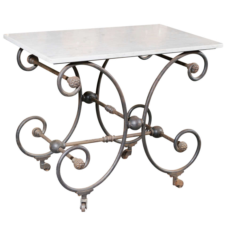 French Marble Top Butcher/Pastry Table 1