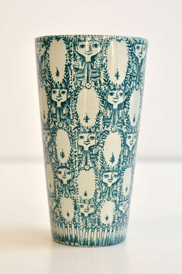 "Unusual and scarce vase by Bjorn Wiinblad with an enchanting decorative pattern and color. It is signed  twice--under the glaze and also hand signed and dated by Wiinblad ""Bjorn Wiinblad Dallas, Oct. 1981"" Marked: Nymolle, Denmark."