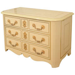 Three-Drawer Cream Lacquered Commode by Bagues