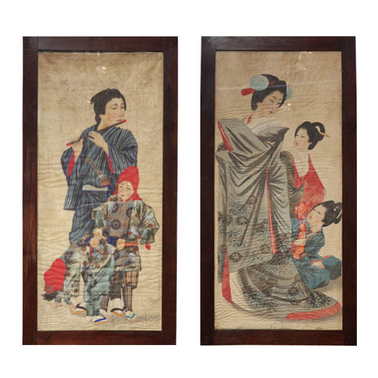 Two 19th Century Japanese Portraits on Silk