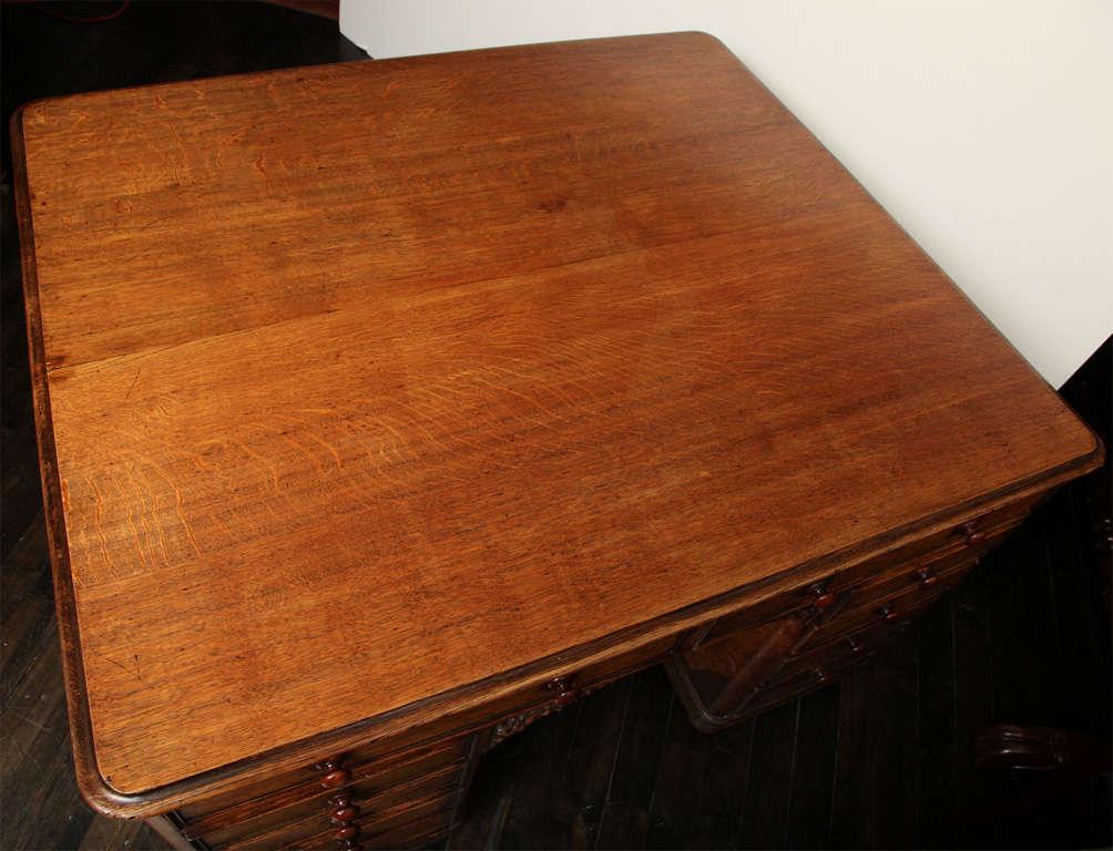 Unusual 19th Century Oak Partners Desk For Sale 2