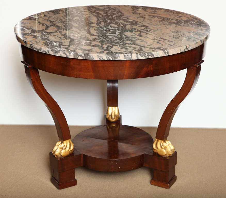 19th Century French, Mahogany and Parcel Gilt, Marble Top Centre Table