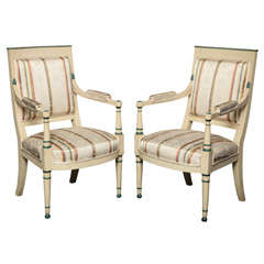 Pair of 19th Century Directoire Painted Fauteuils