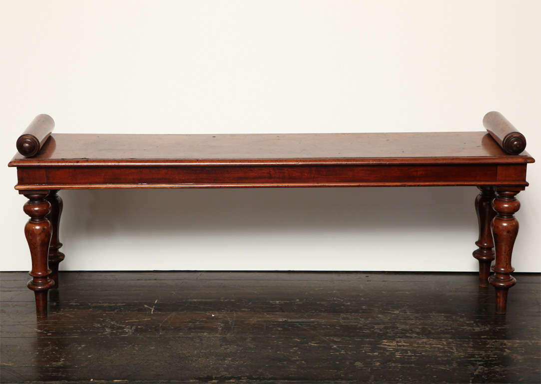 19th Century English Mahogany Roll Arm Bench At 1stdibs