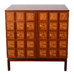 Mid Century Cabinet with Inlaid Book-matched Walnut and Burled Elm