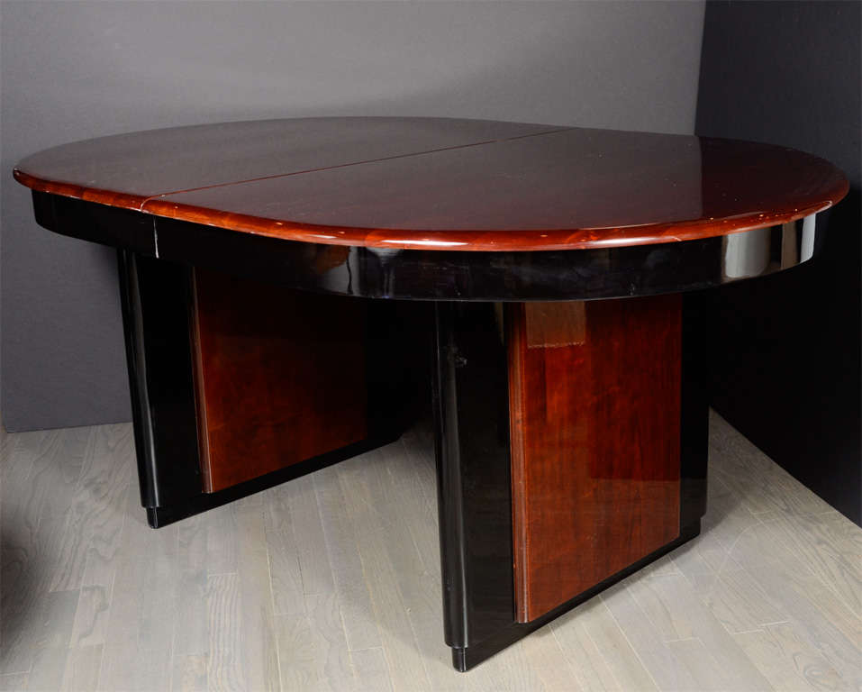 deco book matched mahogany and black lacquer oval dining table image 3