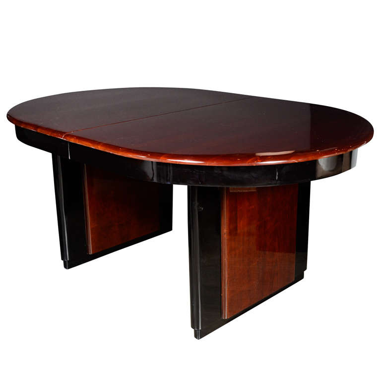 Art Deco Book Matched Mahogany And Black Lacquer Oval Dining Table 1