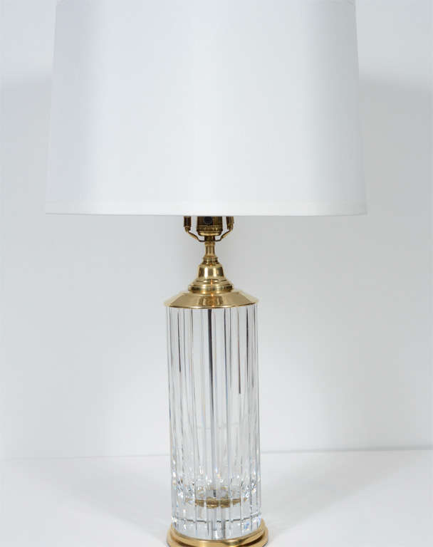 Stunning Mid-Century Baccarat Crystal Lamp with Brass Fittings at ...