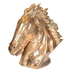 Contemporary Gilt Bronze Horse's Head