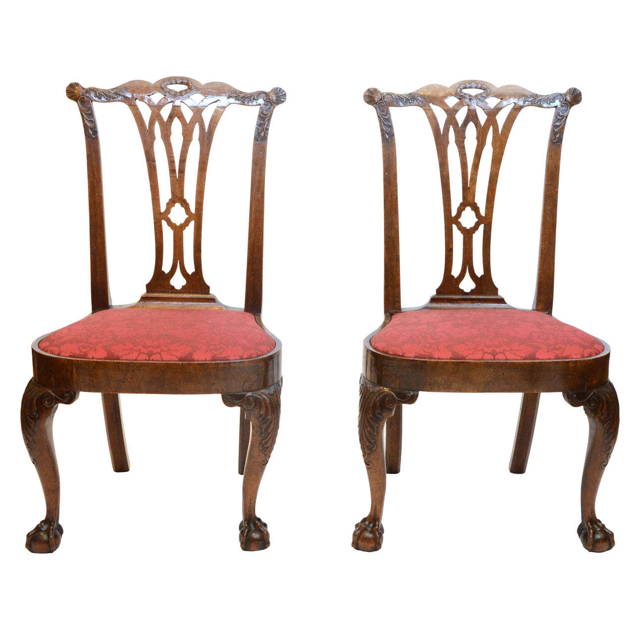 A fine pair of George II period walnut side chairs.
