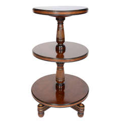 19th century Aesthetic Movement Mahogany Three-Tier Dumb-waiter, ebonised, gold