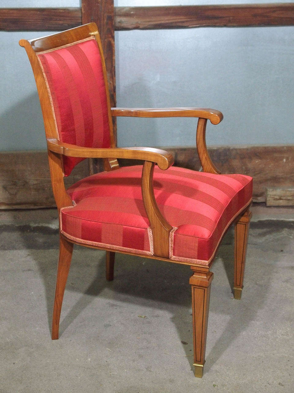Set of Eight French Walnut Neoclassical Style Dining Chairs, circa 1940 8