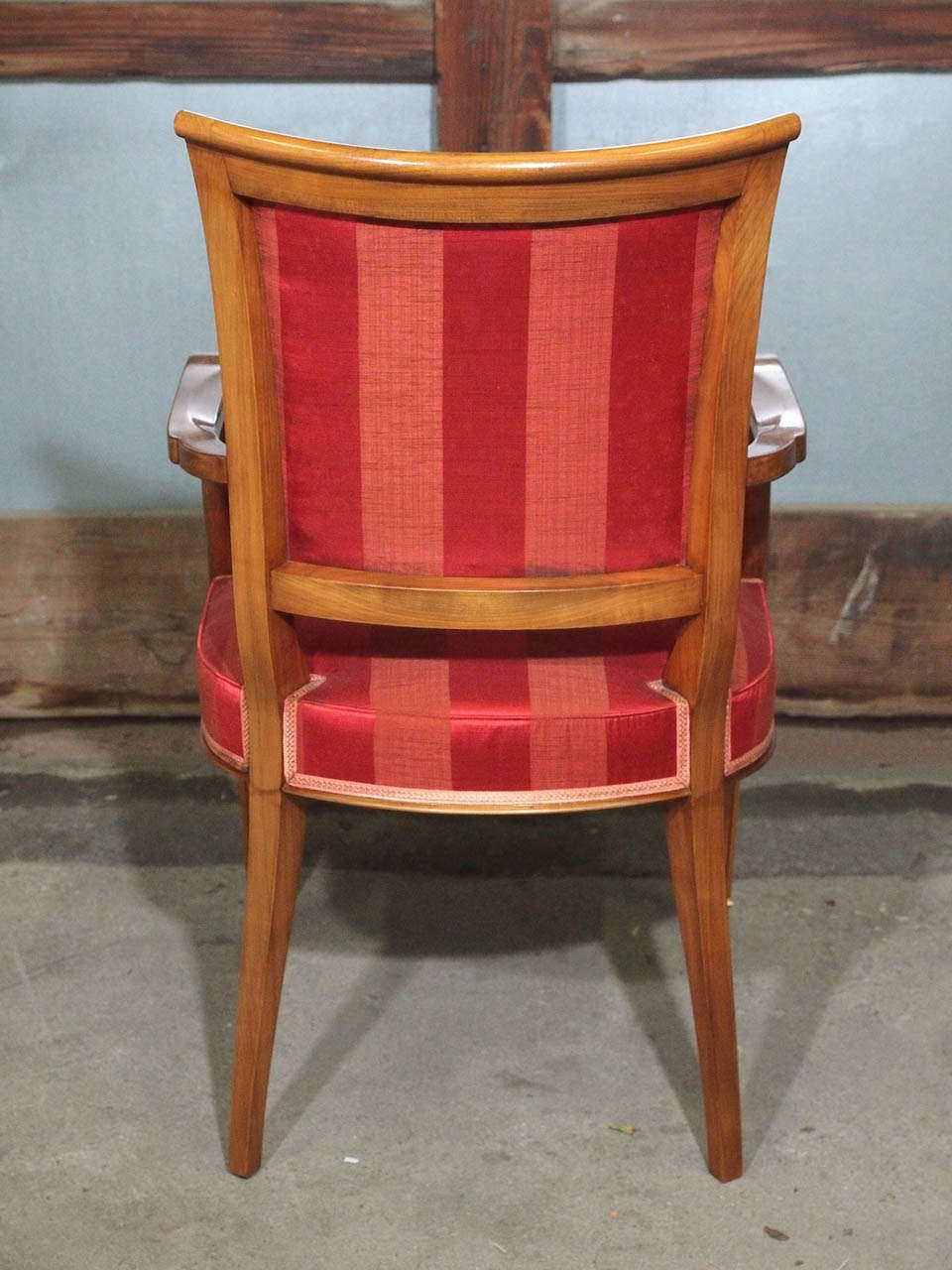 Set of Eight French Walnut Neoclassical Style Dining Chairs, circa 1940 For Sale 5
