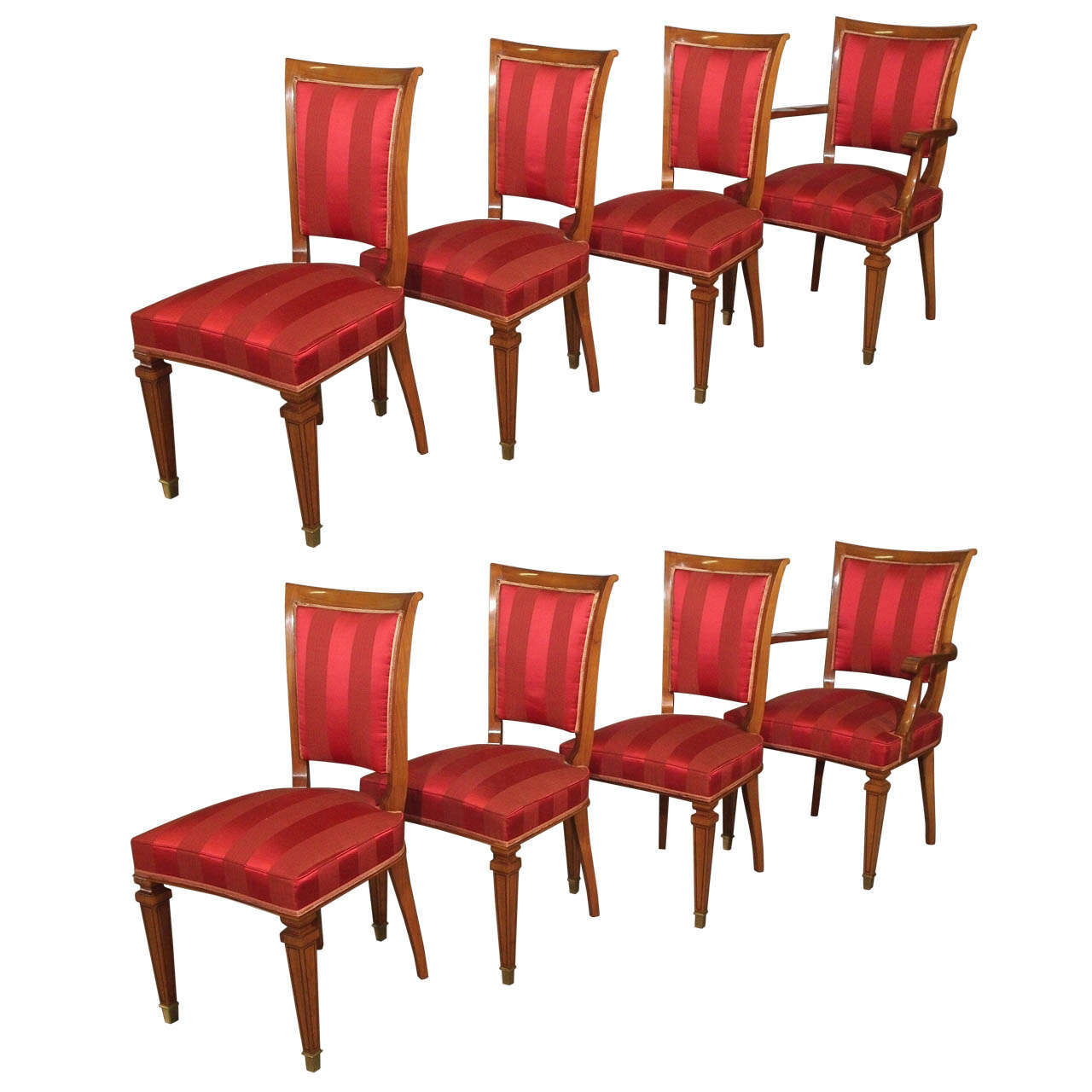 Set of Eight French Walnut Neoclassical Style Dining Chairs, circa 1940 For Sale