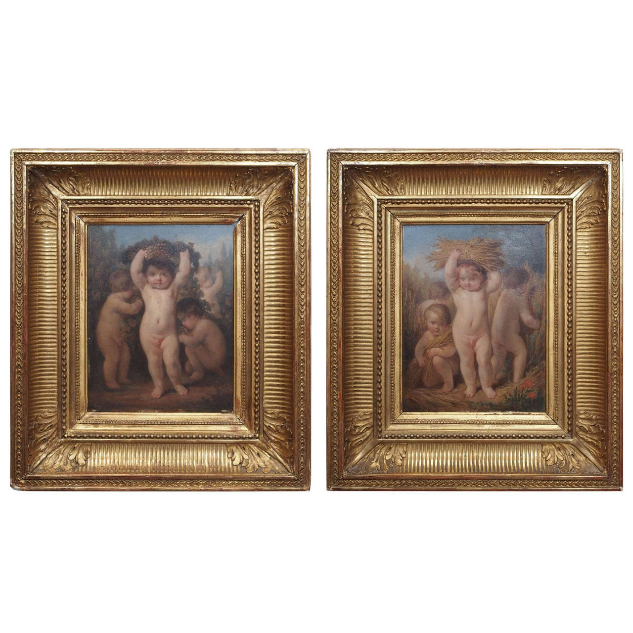 Pair of French Oil on Board of Putti