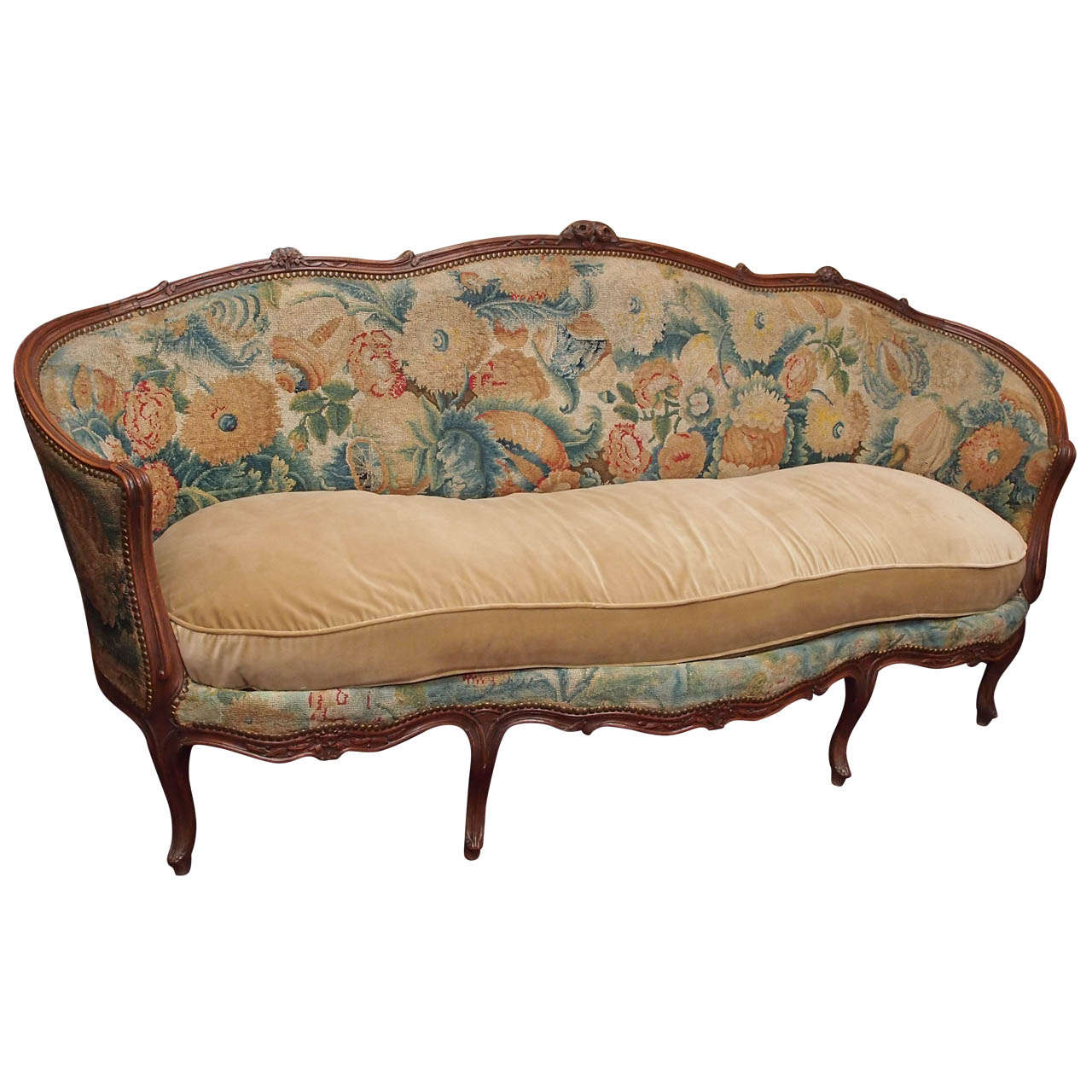 French louis xv walnut canape for sale at 1stdibs for Canape for sale