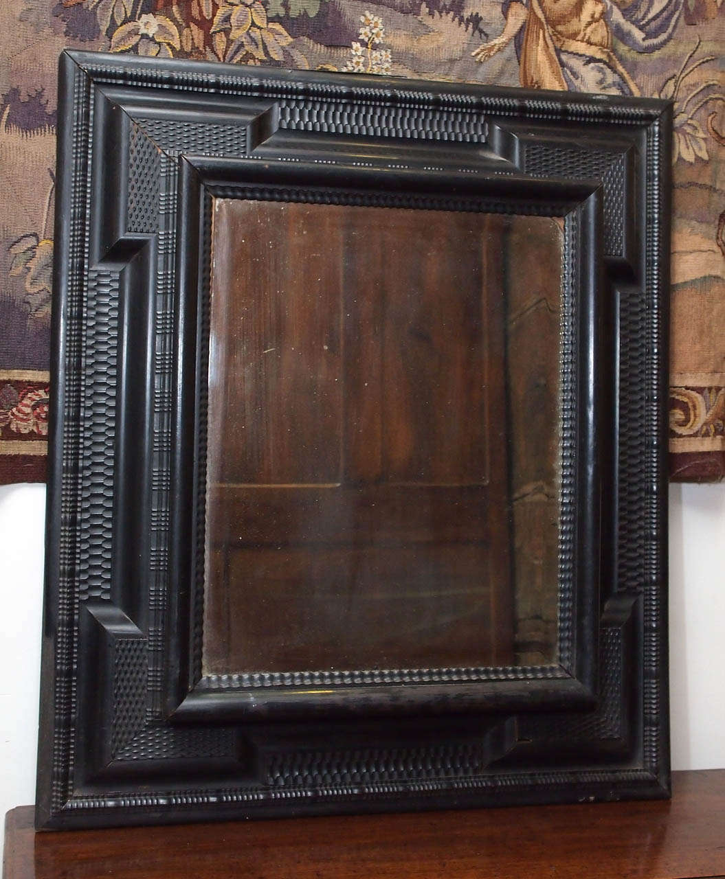 Dutch 17th Century Hand Beveled Mirrored Glass In Frame At