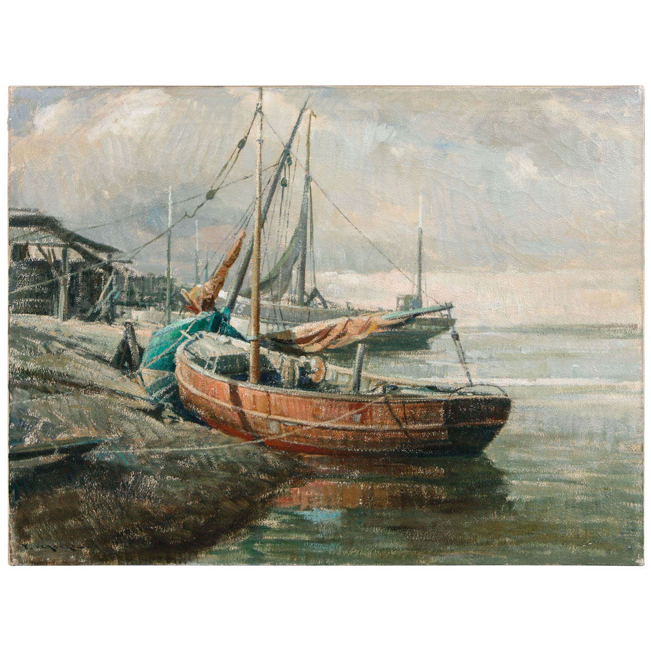 Early 20th Century Belgian Canvas Painting of Boats For Sale