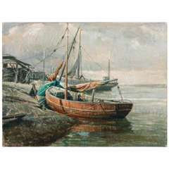 Early 20th Century Belgian Canvas Painting of Boats