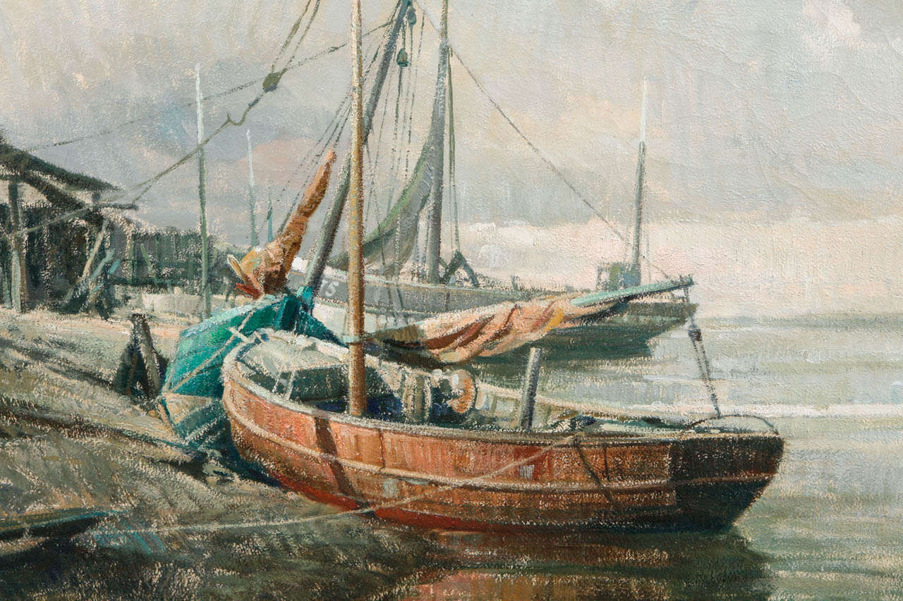 Early 20th Century Belgian Canvas Painting of Boats In Good Condition For Sale In Los Angeles, CA