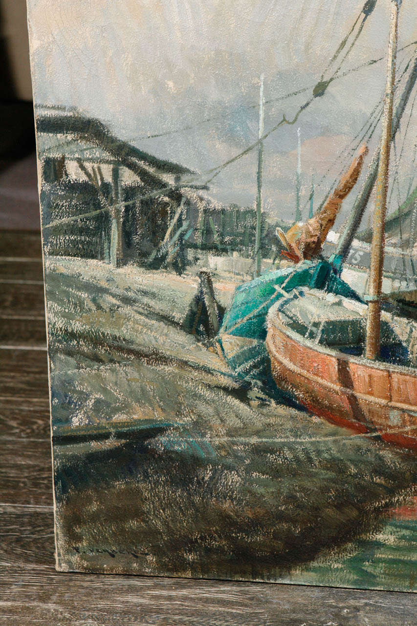 Early 20th Century Belgian Canvas Painting of Boats For Sale 1