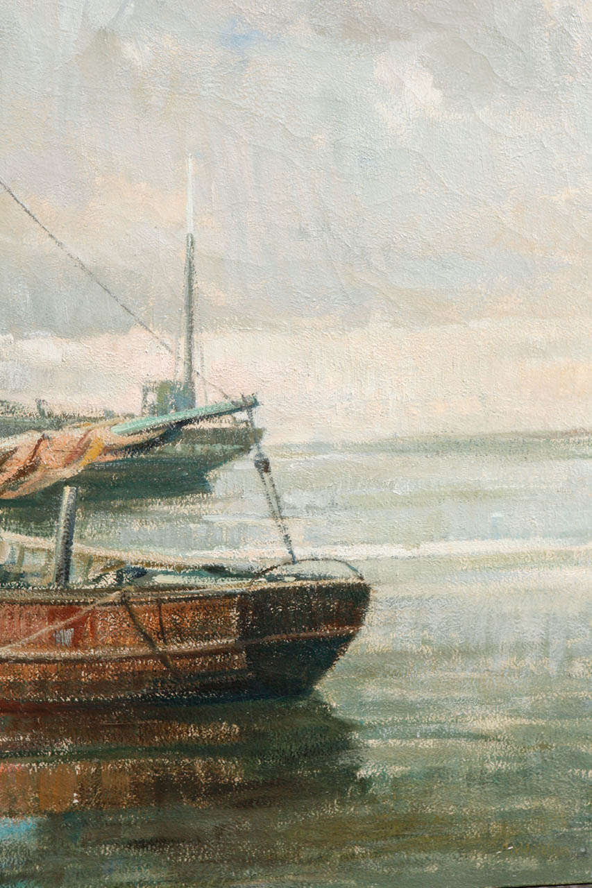 Early 20th Century Belgian Canvas Painting of Boats For Sale 2