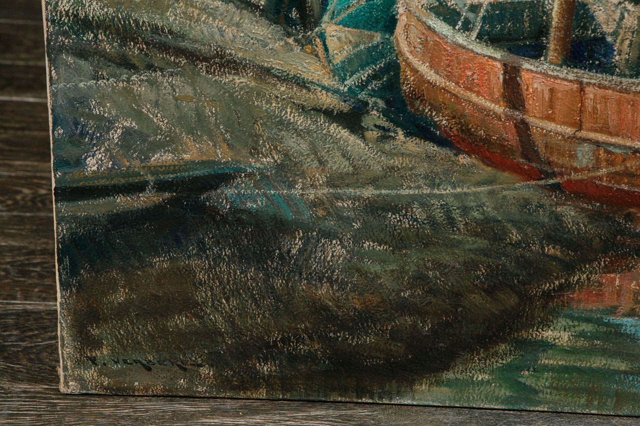Early 20th Century Belgian Canvas Painting of Boats For Sale 3