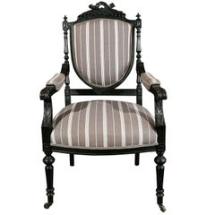 1870s Louis XVI Style Ebonized Fauteuil in Upholstered Linen