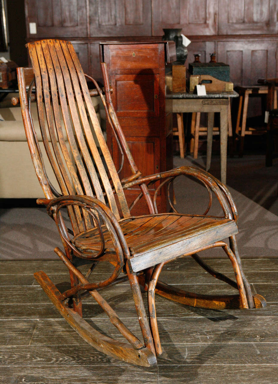 Genial French Slat And Branch Rocking Chair, Circa 1860 In Good Condition For Sale  In Los