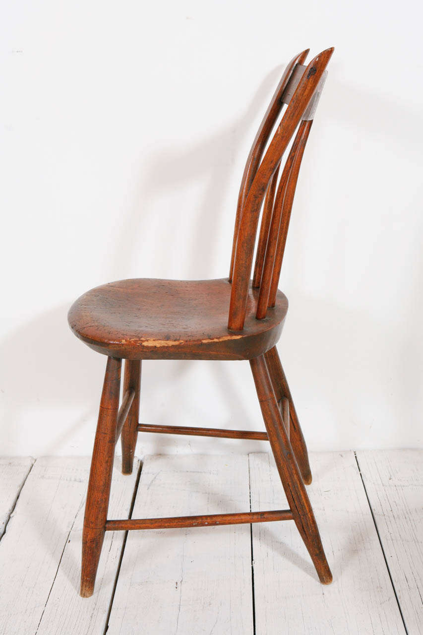 Set Of Four American Pine Side Chairs At 1stdibs
