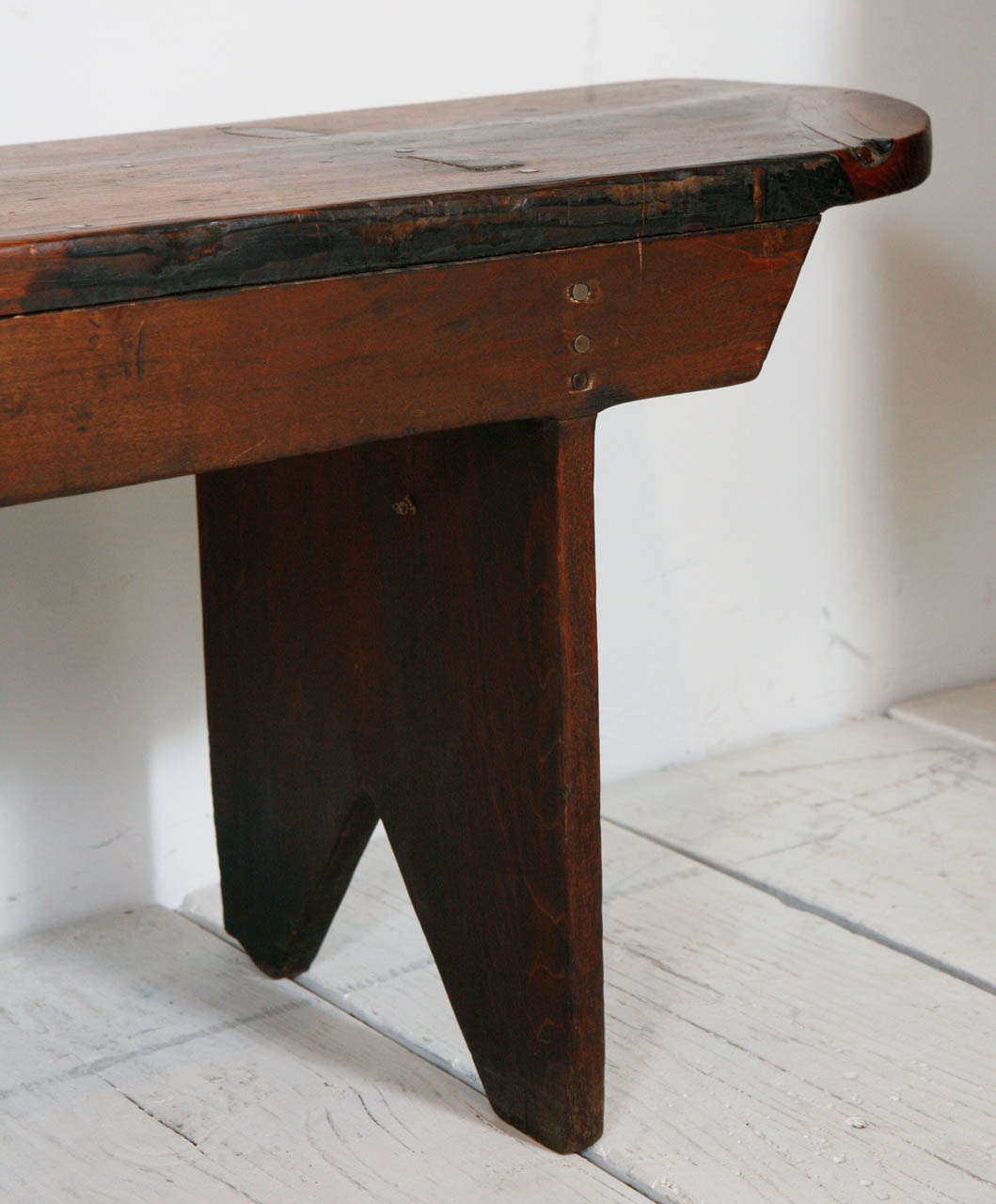 Long Rustic Wood Bench At 1stdibs