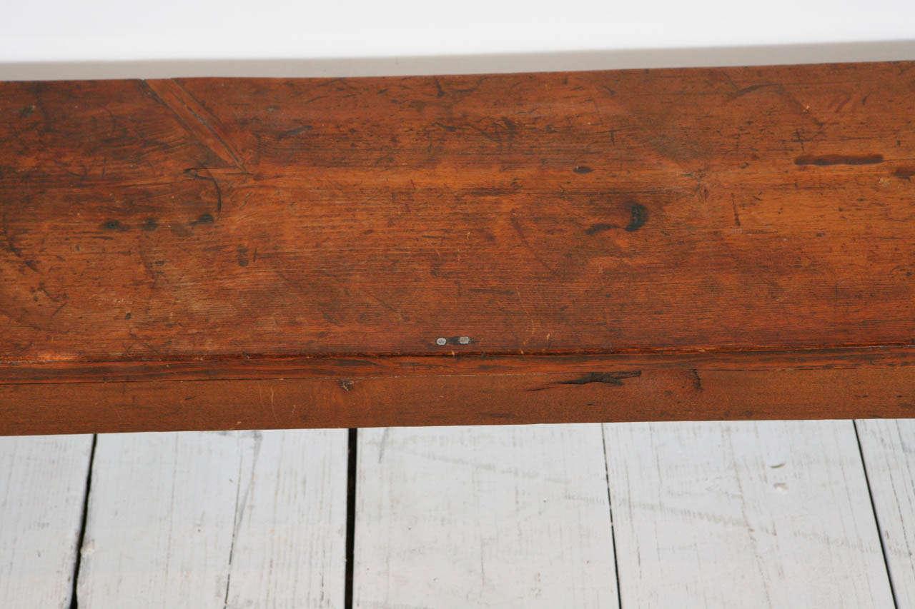 Long Rustic Wood Bench At 1stdibs