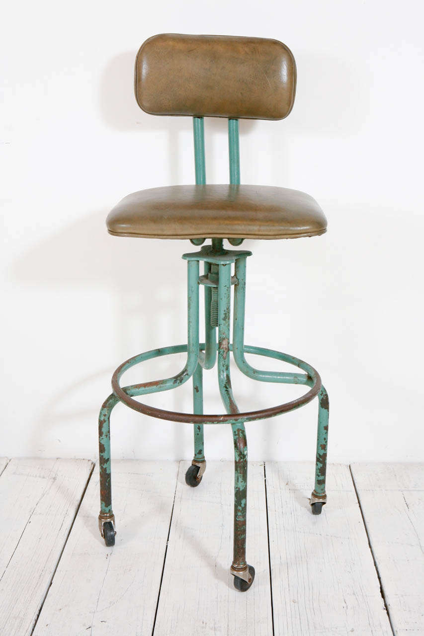 Vintage Green Workshop Stool With Nailhead Leather Seat And Wheels At 1stdibs