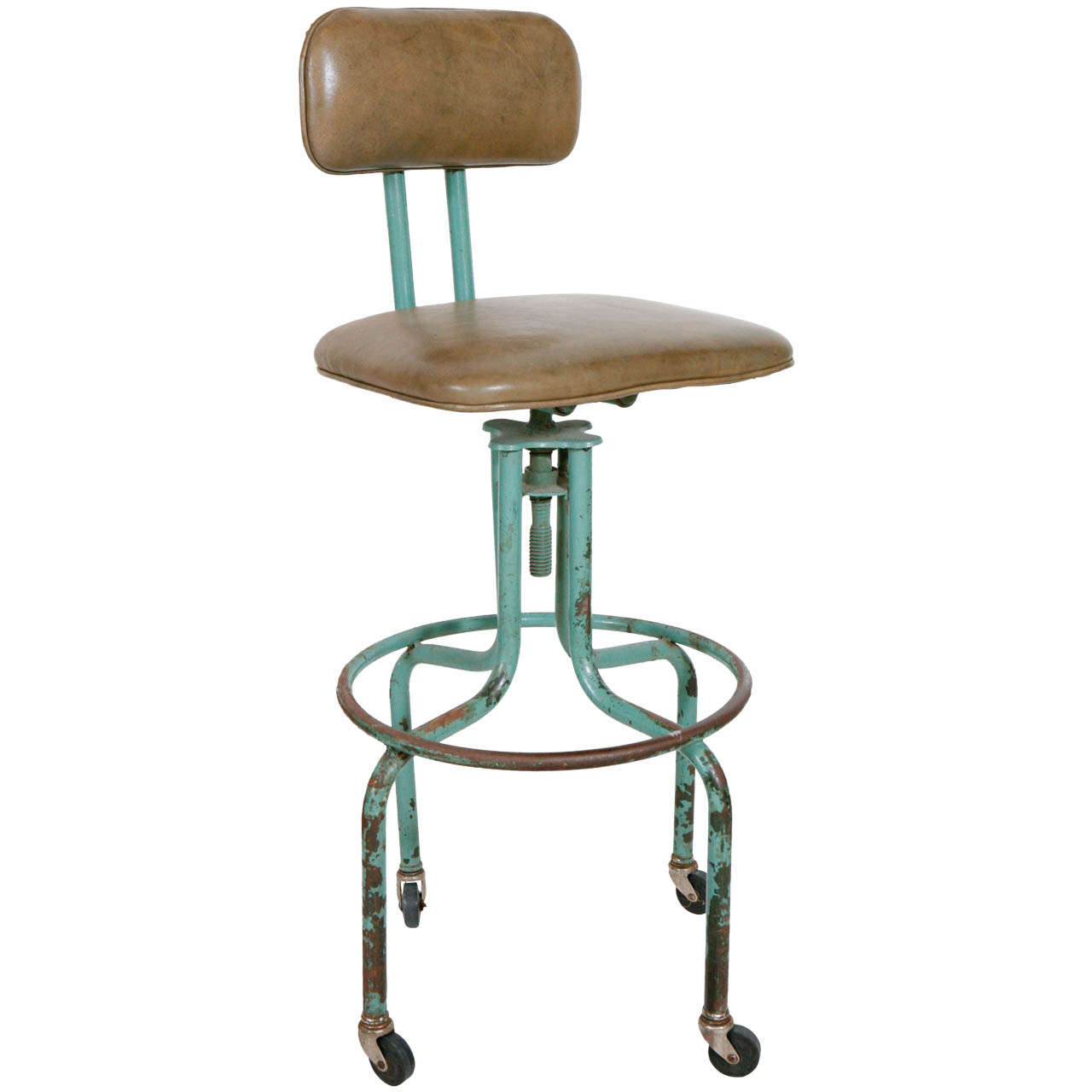 Vintage Green Work Stool With Nailhead Leather Seat And Wheels 1