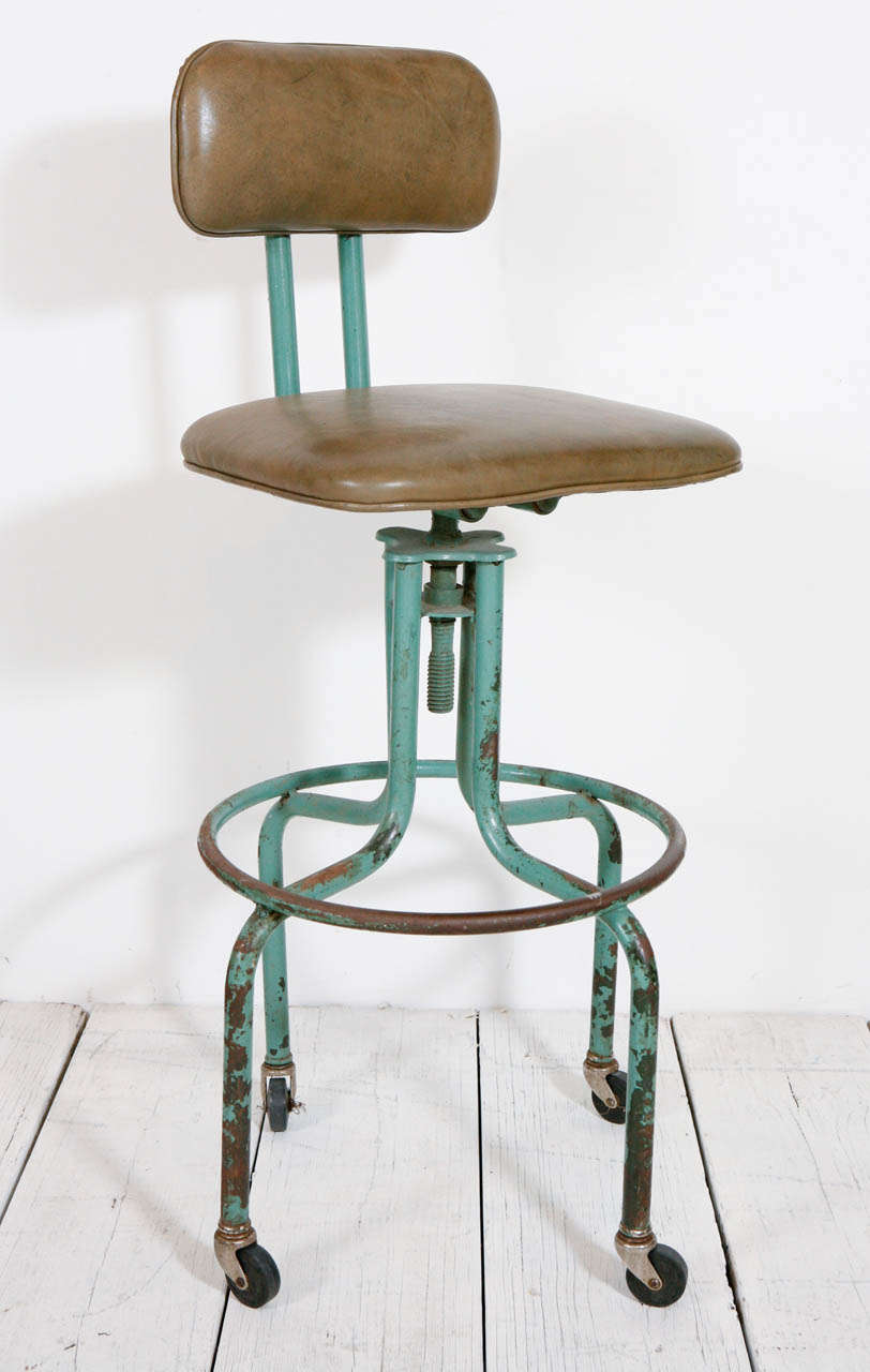 Vintage Green Workshop Stool With Nailhead Leather Seat