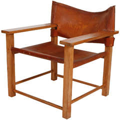 Borge Mogensen Style Leather and Oak Chair