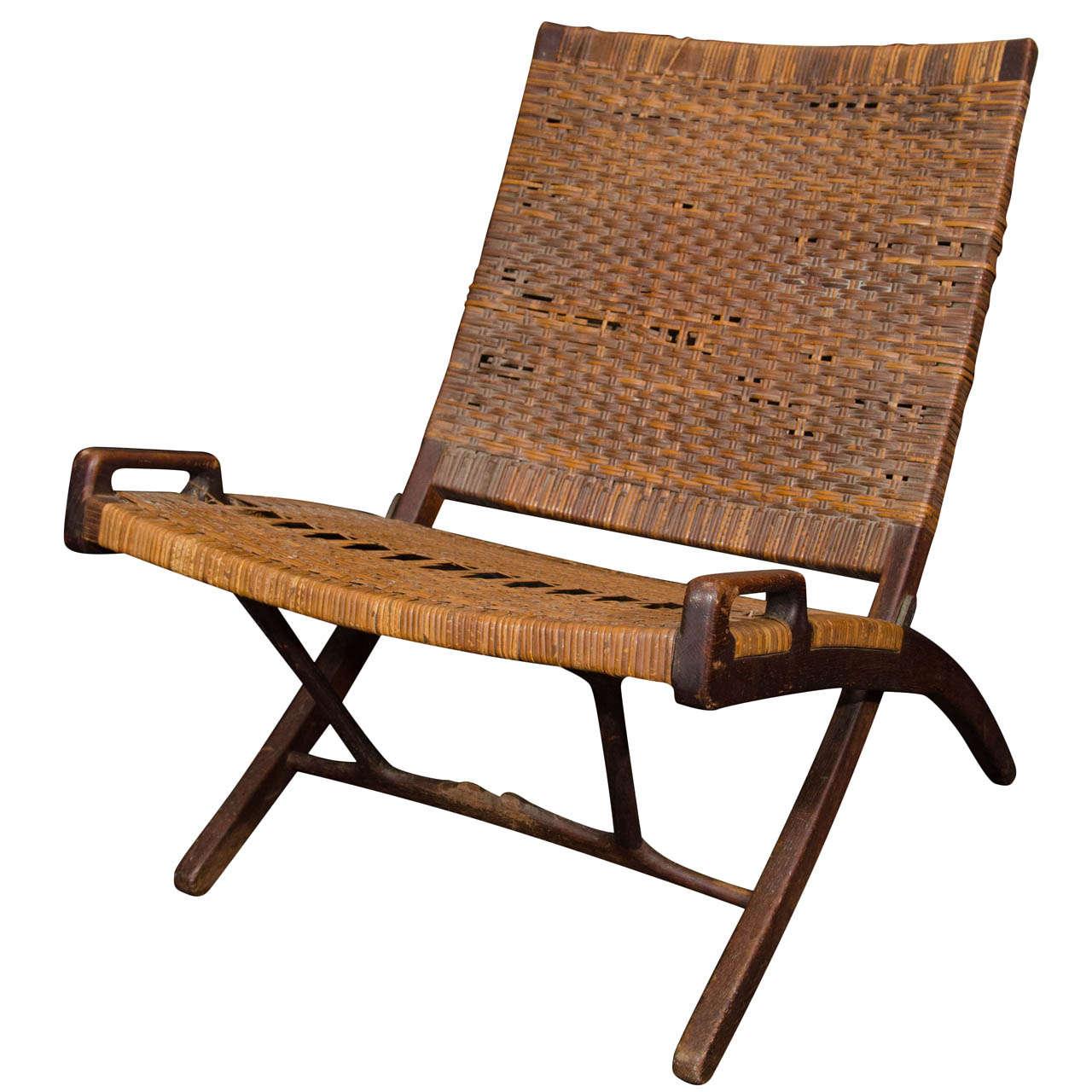 Hans Wegner Oak Cane Folding Chair Stamped Johannes Hansen at 1stdibs