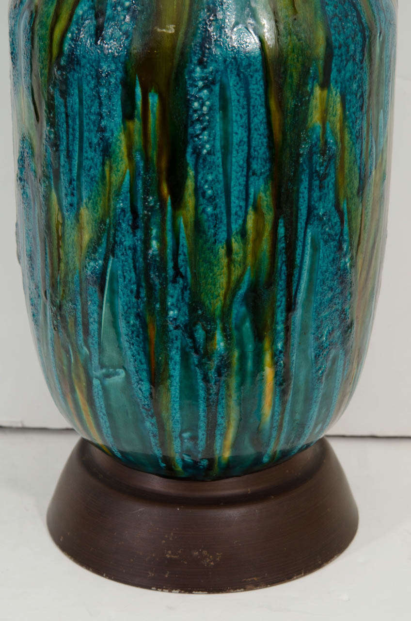 A Mid Century Ceramic Table Lamp In Green And Blue Glaze