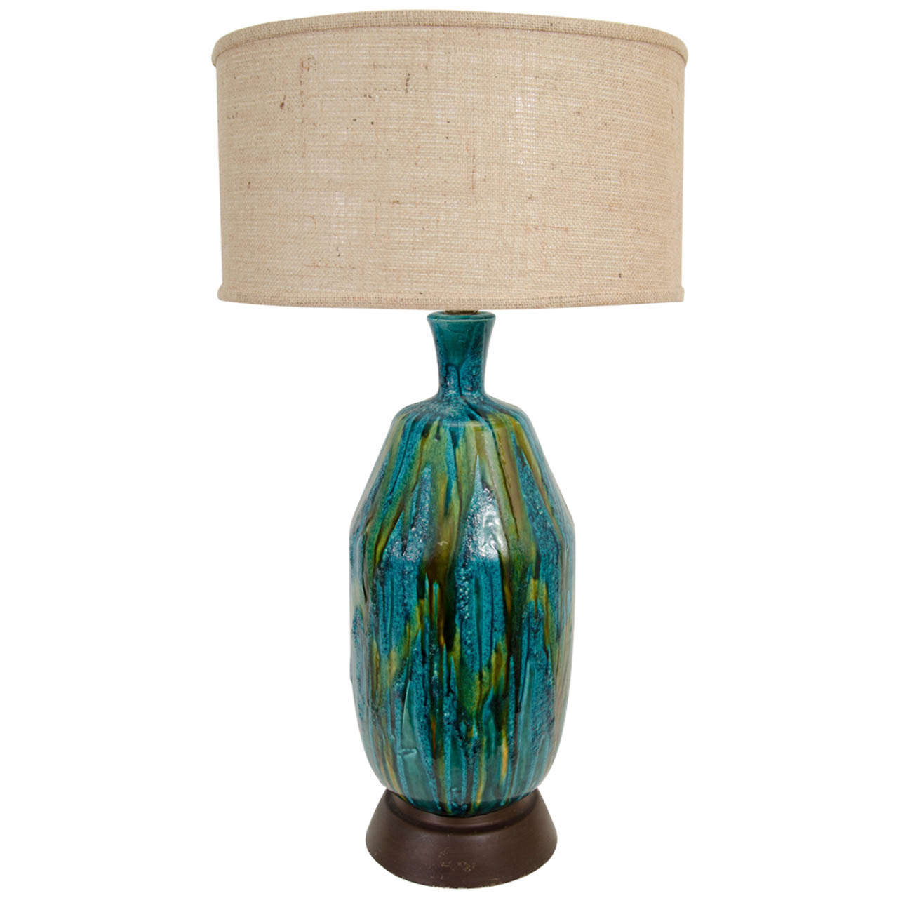 mid century ceramic table lamp in green and blue glaze. Black Bedroom Furniture Sets. Home Design Ideas