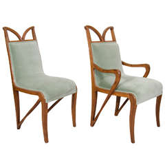 Set of Four French Art Nouveau Carved Wood Dining Chairs
