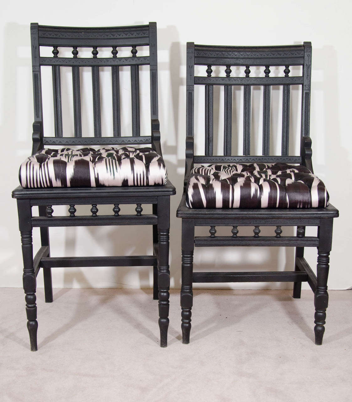 A pair of ebonized wood Eastlake his and hers antique side chairs newly  re-upholstered - An Antique Set Of His And Hers Eastlake Side Chairs For Sale At 1stdibs