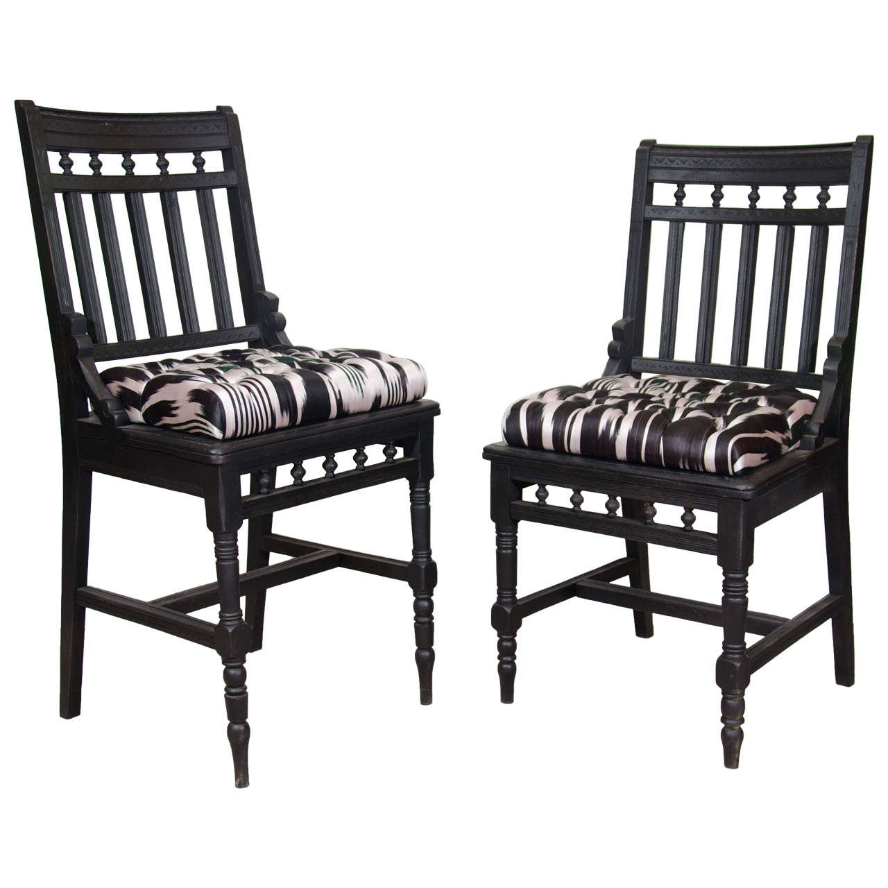 An Antique Set of His And Hers Eastlake Side Chairs - Antique Eastlake Chair In Eastern African Fabric For Sale At 1stdibs
