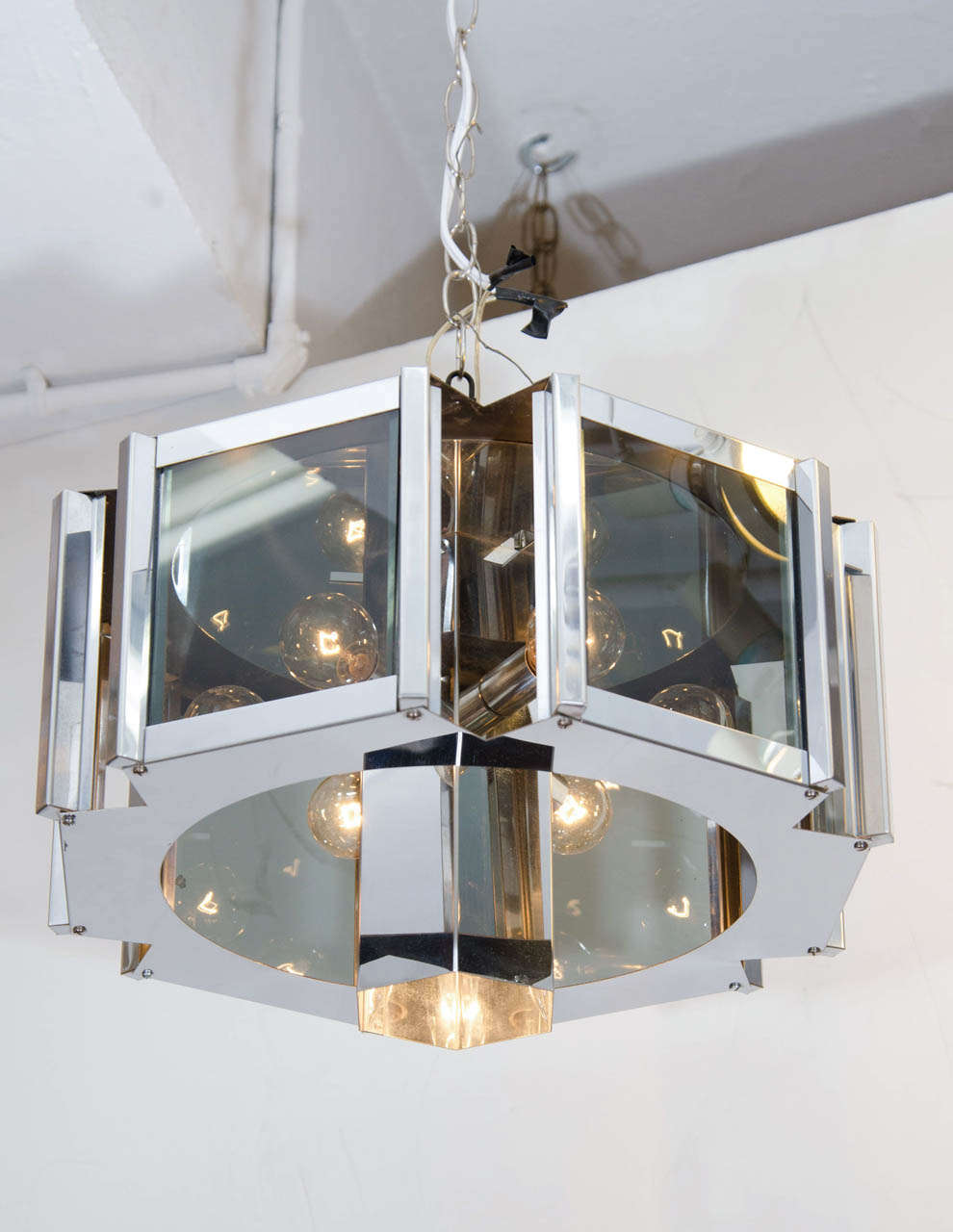 A Vintage Smoke Gl And Chrome Hexagonal Chandelier By Fredrick Ramond